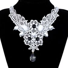 beautiful Beads Crystal White Lace Collar Choker Women Necklace Victorian