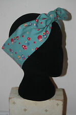 teal Russian dolls babushka  head scarf rockabilly pin up hair wrap 50s turban