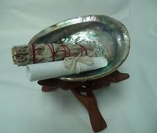 "Abalone Shell, 6"" Wood Stand White Sage Smudge Stick & Directions: Complete Kit!"