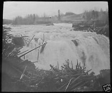 MAGIC LANTERN SLIDE SWEDEN NO.2 RISTA FALLS C1910 LOGGING SWEDISH LIFE TIMBER