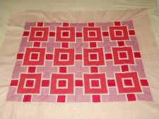 """Red~Pink Valentine baby or lap quilt TOP """"Stepping Stone""""  Handsewn! 40in X 47in"""
