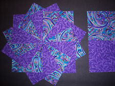 "40 Purple and Turquoise Paisley  Quilt Quilting Squares Cotton Fabric 4"" Lovely"