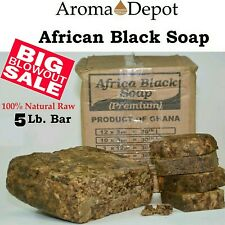 5 Lbs African Black Soap BAR, RAW Organic,Unrefined from GHANA 100 % Natural