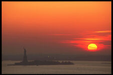 244093 Liberty Island With Sunset A4 Photo Print