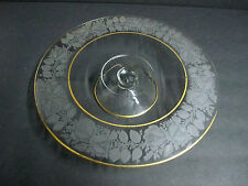 Antique Ornate Cambridge Etched Glass Pedestal Cake Stand Gold Gilt Bridal Gift