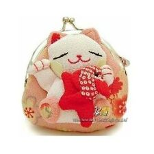 Baby Girl Japanese Lucky Cat Cartoon Wallet Kimono Fabric Coin Purse Bag