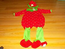 Infant Size 12 Months Baby Grand Strawberry Halloween Costume Jumpsuit & Hat EUC