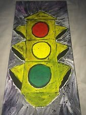 OLD SCHOOL TRAFFIC LIGHT ACRYLIC PAINTING. ARTIST DIRECT! 12X24  MAN CAVE GARAGE
