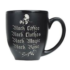 Alchemy Gothic Black Coffee Skull and Roses Ceramic Mug Drinking Cup