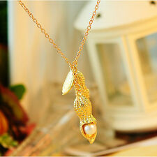 1x Women Jewelry Chain Metal Peanut Fake Pearl Retro Necklace decor HF