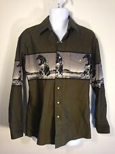 Wrangler Army Green Cowboy Rodeo Horse Western Shirt Mens Sz M