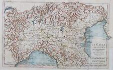 Vecchia antica mappa la Gaule Cisalpine ITALIA ALPI C1741 by D'ANVILLE 18thC INCISIONE