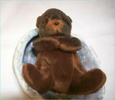 Cute Plush Stuffed Toy Baby Sea Otter in beautiful real Abalone Shell bed