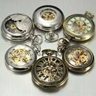 Vintage Antique Steampunk Skeleton Mechanical Pendant Chain Pocket Watch Gift