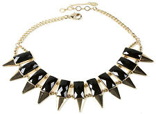 NWT Amrita Singh Gold Black Resin Wisteria Spike Collar Bib Necklace NKC 5149