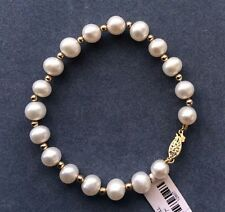 NATURAL 8-9MM ROUND SOUTH SEA GENUINE WHITE PEARL BRACELET