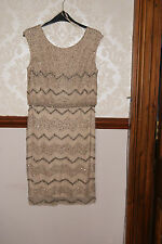 Adrianna Papell Champagne Blouson Beaded Dress Prom Cocktail Party BNWT 14 £250