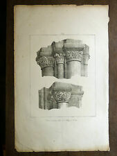 Lithographie FRAGONARD Chapiteaux abb Fécamp VOYAGE PITTORESQUE Taylor NORMANDIE