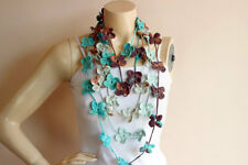 Spring Crochet Scarf-Flower Necklace Scarf-Lariat Scarf-Handmade Cotton Scarf