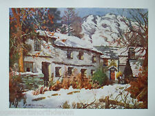 ANTIQUE PRINT DATED 1908 CONISTON WINTER ENGLISH LAKES BY A HEATON COOPER