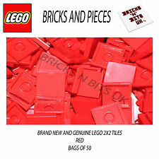 LEGO 2X2 TILE 3068 RED BAG OF 50, CITY, STAR WARS, CREATOR, HEROES, FRIENDS