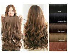 Dark Brown 5 Clips in 1 Piece Women Long Curly Wavy Synthetic Hair Extension New