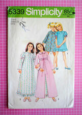 Vtg 1970s Simplicity 5339 Pattern Girls Pajama Robe & Nightgown Gown Size 6
