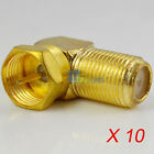 10Lot F type Male Plug to Female Jack Right Angle 90° TV Cable Connector Adapter