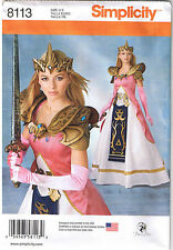 Warrior Princess Zelda Costume Gown Dress Armor Crown Sew Pattern 6 8 10 12 14
