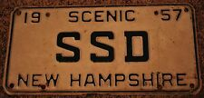 1957 New Hampshire Vanity License Plate   SSD
