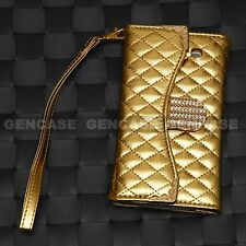 LUXURY WALLET PURSE BLING CASE WITH ID SLOT FOR APPLE SAMSUNG GALAXY PHONE NEW