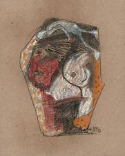 ABSTRACT FIGURES IN THE STYLE OF PICASSO Pastel Drawing 2013 INDISTINCTLY SIGNED