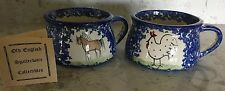Pair of MOLLY DALLAS Blue Spatterware Soup Mugs - Chicken & Horse