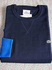 NWT Authentic Lacoste Crewneck 100% Cotton Sweater #AH3413 Navy Blue Size 6 / L