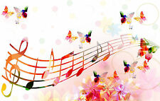 Framed Print - Colourful Pink Music Notes & Butterflies Picture Poster Butterfly