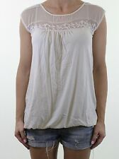 NEW LOOK cream embroidered lace trim blouse top size 10 euro 38