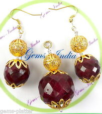 Exclusive 211+ Ct Natural African Red Ruby Pendant With Ear-Rings~Gold Polished