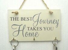 Wooden Wall Key Holder Shabby Chic Plaque Home Key Storage Rack