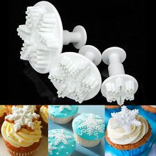 3pcs Snowflake Plunger Cutter Mold Sugarcraft Fondant Cake Decorating Tool New I