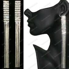 "6""LONG screw CLIP ON EARRINGS crystal RHINESTONE LIQUID SILVER PLT glamour clips"