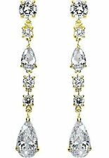 3.00 carat total Pear & Round cut Diamond Chandelier Earrings 18k Yellow Gold