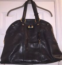 Yves Saint Laurent YSL BLACK Calfskin Leather Large 'Muse' Handbag