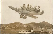 Flugzeug über Dampfer-Anlegestelle, Drachenfels bei Königswinter, Ak um 1930