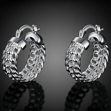925 Sterling Silver Pltd Creole Huggie Hoop Dangle Drop Earrings - UK New -99