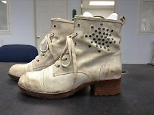 Bare Traps Antique White Leather (Comfort) Ankle Boots Womens Size 11