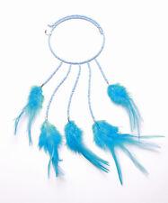 Azul Perla & Feather Stretch Gargantilla Con Gota Colgante Para Ibiza elegante estilo (zx43)
