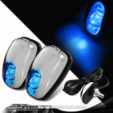 2x Universal Chrome Windshield Washer Jet Spray Nozzle Wiper With Blue LED