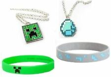MINECRAFT Necklace & Rubber Bracelet SET OF 4 New & Licensed