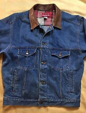 Mens Marlboro Country Store Denim Jacket w/Leather Collar / Large *FREE SHIPPING