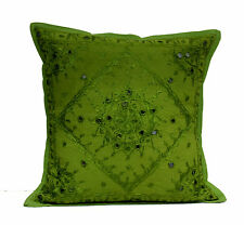 An Ethnic Indian Embroidery Mirror Work Throw Pillow Cushion Cover